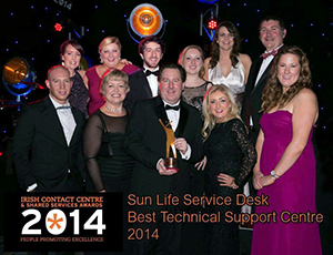 Sun Life Ireland team celebrates winning best Technical Support Centre at the Irish Contact Centre & Shared Services Awards