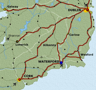 A map showing Waterford's location in Ireland